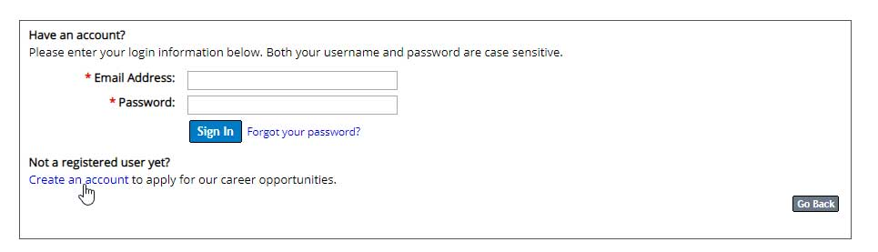 screen shot of sign in form with option to create account